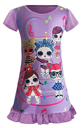 WNQY Surprise Princess Nightgown Little Girls Pajamas Dress for Doll Surprised (140/6-7Y Purple)