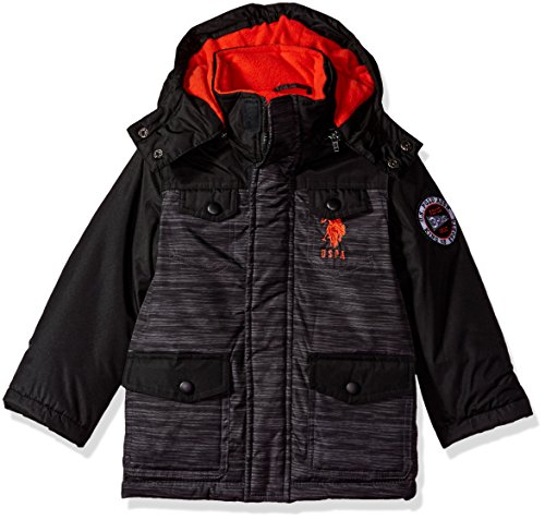 US Polo Association Little Boys' Outerwear Jacket (More Styles Available), UB49-Parka-Heather Grey, 4 (Parks And Recreation Polo)