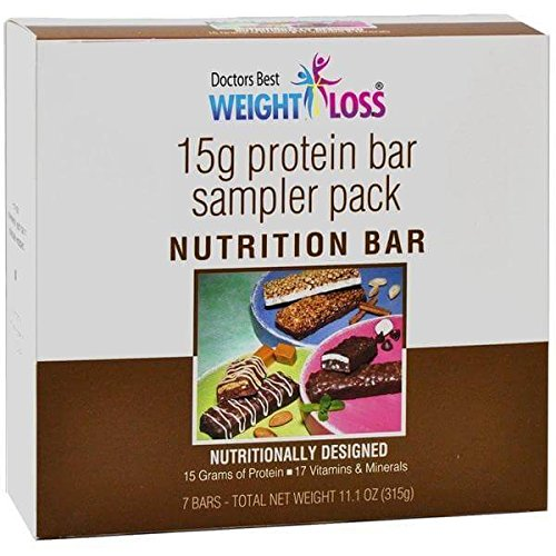 Doctors Best Weight Loss - High Protein Diet Bars |Variety| Low Calorie, Low Fat, Low Sugar (7/Box) (Center For Medical Weight Loss Shake Nutrition)