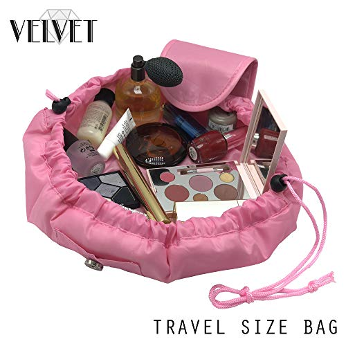 Toiletry Travel Bag | Lazy Drawstring Makeup Organizer with Magnetic Snap | Waterproof Cosmetic Pouch for Women, Men, Girls (Large 18 inches, Pink) by VelvetBags