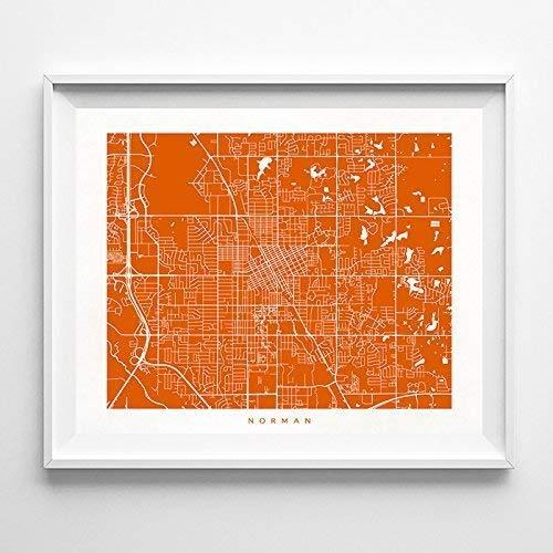 Norman Oklahoma Street Road Map Poster Home Decor Print Modern City Urban Wall Art - 70 Color Options - Unique Decoration Minimalist Office Interior Gift Bedroom Living Room Artwork - Unframed ()