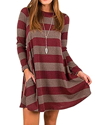 Murimia Women's Striped Long Sleeve Flared Casual T-shirt Dresses with Pockets