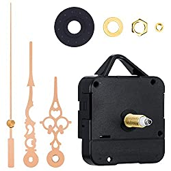 Mudder High Torque Clock Replacement Movement, 1/2 Inch Maximum Dial Thickness, 9/10 Inch Total Shaft Length (Shaft Length 1-1/5 Inch/ 31 mm, Gold)