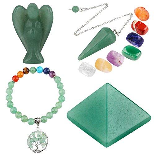 mookaitedecor Green Aventurine Healing Crystals Set, 7 Chakra Bracelet, Palm Stones, Pendulum, Pocket Guardian Angel, Pyramid Meditation Kits for Reiki,Balancing