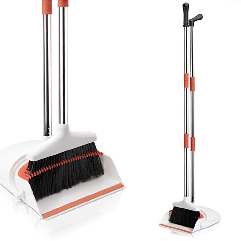 New Soft-Brush Plastic Broom Set, Broom with Comb Teeth, Clean Home Kitchen Room Office Lobby Floor,4 BERID