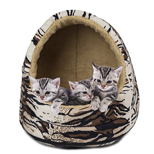FurHaven Pet Hood Bed | Animal Fur Print Hood Pet Bed for Dogs & Cats, Tiger, One-Size