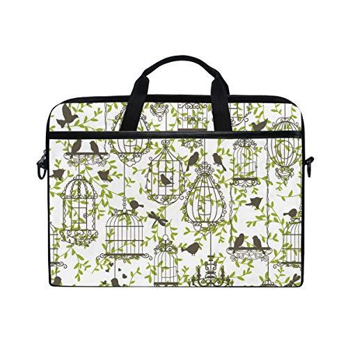 Birdcage Canvas - 15-Inch Laptop Bag Birdcage Leaf Canvas Shoulder Messenger Sleeve Case Tablet Briefcase