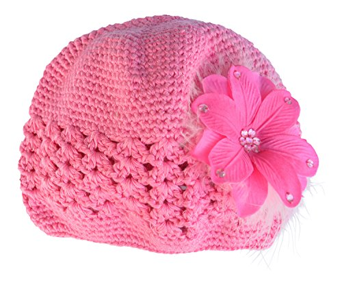 - PLH Bows Crochet Hat with Feathers and Hibiscus Flower. Hand Sewn Sequins Are in the Center and on Petals of Hibiscus (FUCHSIA)