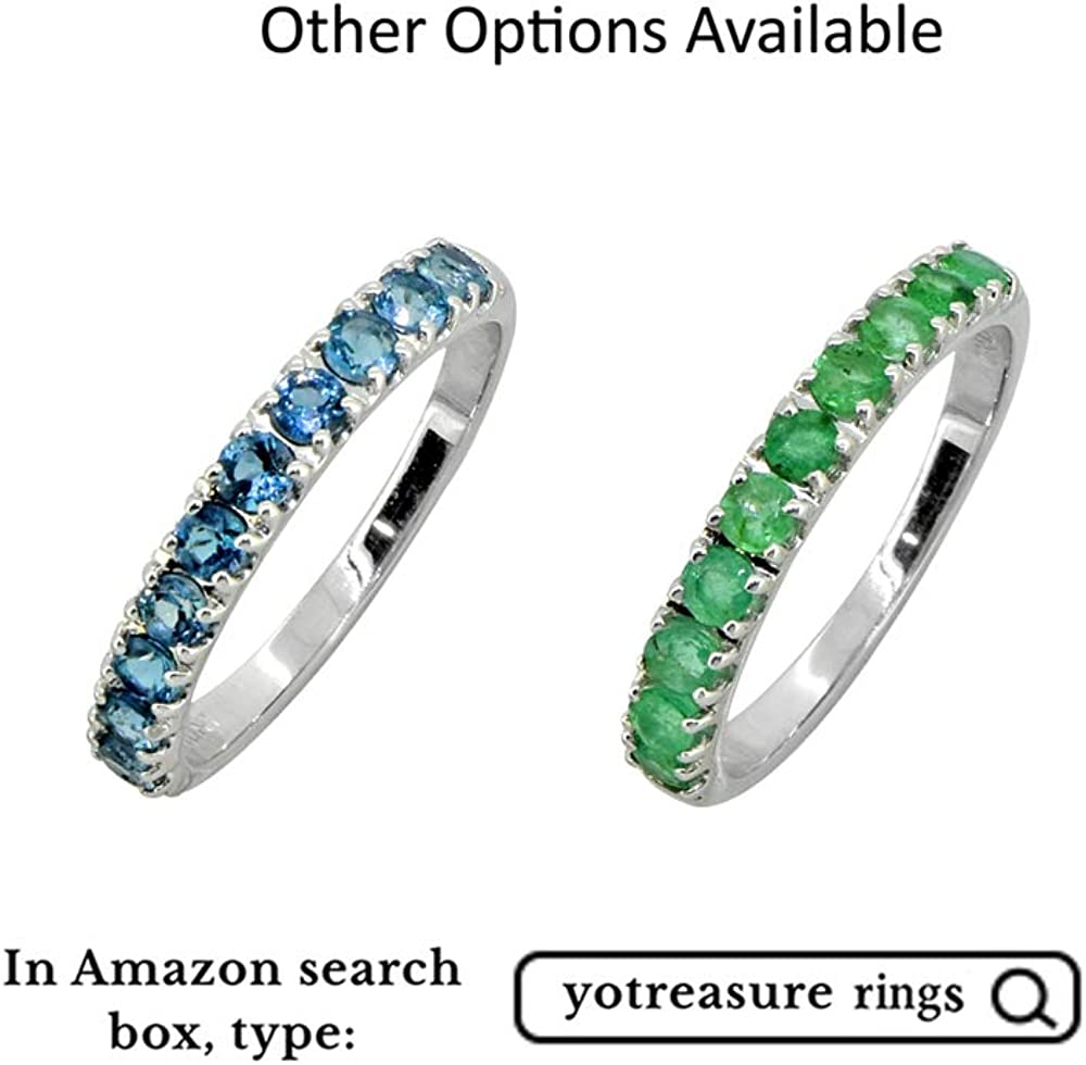 London Blue Topaz Solid Sterling Silver Eternity Band Ring YoTreasure 0.80 Cts