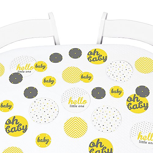 Big Dot of Happiness Hello Little One - Yellow and Gray - Neutral Baby Shower Giant Circle Confetti - Party Decorations - Large Confetti 27 -