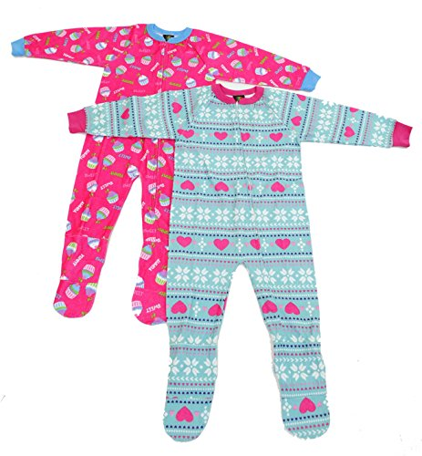 Just Love Footed Pajamas / Blanket Sleepers (Pack of 2),Cupcake and Hearts,Girls (Girls Footed Sleeper Pajama)