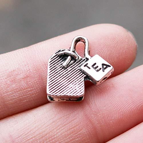 NP Supplies 7 pcs Tea Bag Charms Antique Silver Metal Charm 15×15mm (NS817)