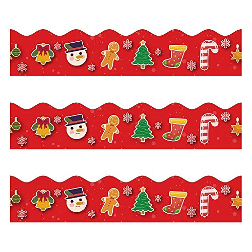 Christmas Bulletin Borders Stickers, 50 ft Christmas Decoration Borders for Bulletin Board, Santa Claus/Gingerbread Man/Candy Trim, Teacher/Student Use for Classroom/School Decoration (Christmas For Borders)