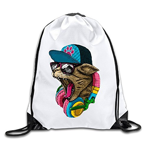 (FOODE Cool And Wild Cat Drawstring Backpack Sack Bag)