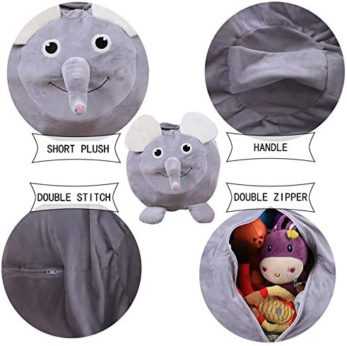 HezongDirect Stuffed Animal Storage Bean Bag,Jumbo Stuffed Animal Storage Bean Bag Comfy Fabric Monkey, Pig or Elephant Toy Organizer Extra Blankets (brown) (coffee) Grey