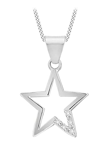 Tuscany silver sterling silver womens cubic zirconia open star tuscany silver sterling silver womens cubic zirconia open star pendant on adjustable curb chain necklace 41cm mozeypictures Image collections