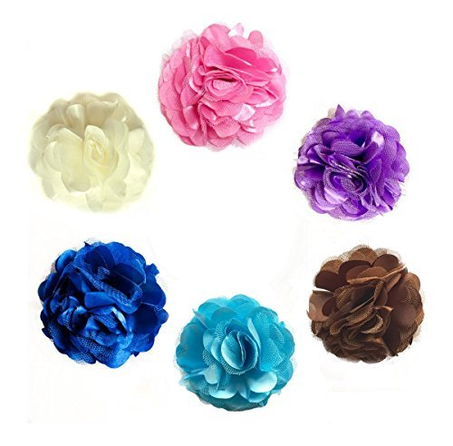 6-piece Fabric&Lace Headband Clip/Brooch, Hair Flower Set by UNI Gifts