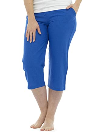 new style get cheap where to buy Ladies Women 3/4 Length Linen Trousers With Elasticated Waist ...