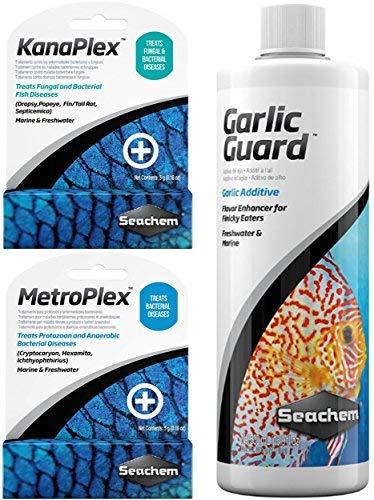 Ultimate Seachem Aquarium Treatment Bundle Pack - Metroplex, Kanaplex, Garlic Guard ()