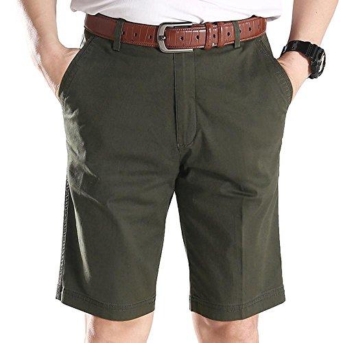 Arcweg Men Cotton Shorts Chino Pockets Lightweight Casual Summer Stretch Work Half Pants 31-42 Army Green Waist 40 in