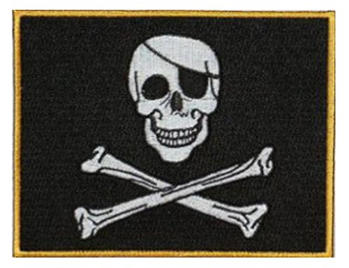 """Jolly Roger Embroidered Patch 13cm X 10cm (5"""" X 4"""")"""