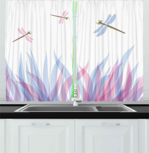 House Bird Dragonfly (Ambesonne Dragonfly Kitchen Curtains, Nature Themed Colorful Birds Like Bugs Flies on Flame Abstract Image, Window Drapes 2 Panels Set for Kitchen Cafe, 55 W X 39 L inches, Violet Pink and Blue)