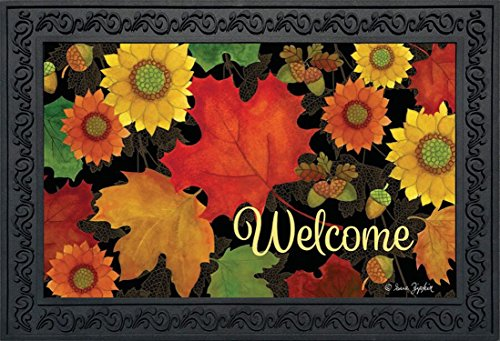 Fall Foliage Welcome Doormat Autumn Leaves Indoor Outdoor 18'' x 30'' by Briarwood Lane