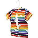 Retro Rainbow T-Shirt with Clouds - Featuring White Felt Clouds On Back