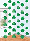 Amscan Lucky Irish Green St. Patrick's Day Shamrock Foil String Party Decoration (Pack of 6), Multicolor, 7'