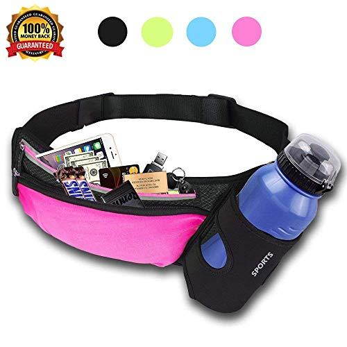 HAISSKY Running with Water Bottle Holder, Running Waist Bag Hiking Waist Pack Multifunctional Sports Waist Bag for Running, Hiking, Climbing and Walking