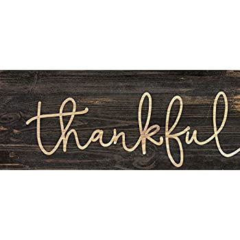 Thankful Script Design 3 x 6 Inch Solid Pine Wood Farmhouse Stick Sign