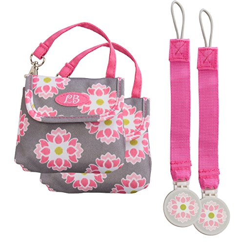 Demdaco (2 Pack) Pacifier Case, Pacifier Holder with Pacifier Clips for Mom, Dad, Baby Bag and Travel by Lilly Bit Designer