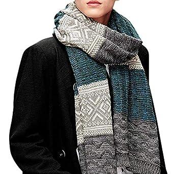 fe186cb7f541 Écharpe Homme Stripes en Laine Acrylique Long Chaude Vogue en Automne  Hiver  Souple Confortable