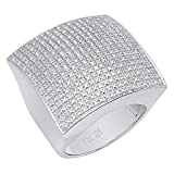 0.50 CT Sterling Silver Fancy Design Round Diamond Men's Flashy Hip Hop Iced Pinky Ring