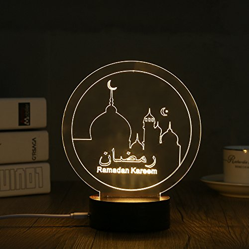 Price comparison product image RAMADAN KREEN Wood Acrylic 3D Table Lamp By Lanmz