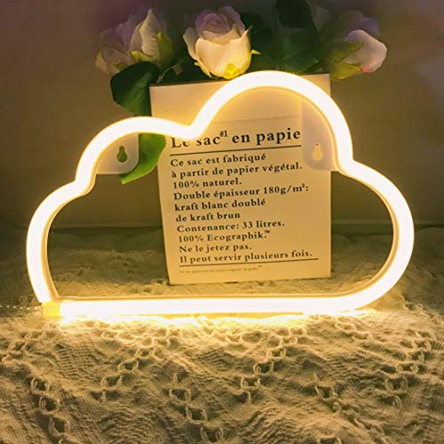 (QiaoFei Neon Light,LED Cloud Sign Shaped Decor Light,Wall Decor for Chistmas,Birthday Party,Kids Room, Living Room, Wedding Party Decor (Warm White))