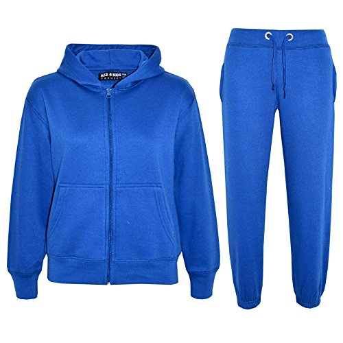 a2z4kids Kids Girls Boys Plain Tracksuit Hooded Hoodie Bottom Jog Suit Joggers 7-13 Year Royal Blue