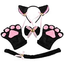 Kictero Cat Cosplay Costume, Cosplay Fancy Costume Kitten Tail Ears Collar Paws Gloves, Cat Costume For Women Girls Kids