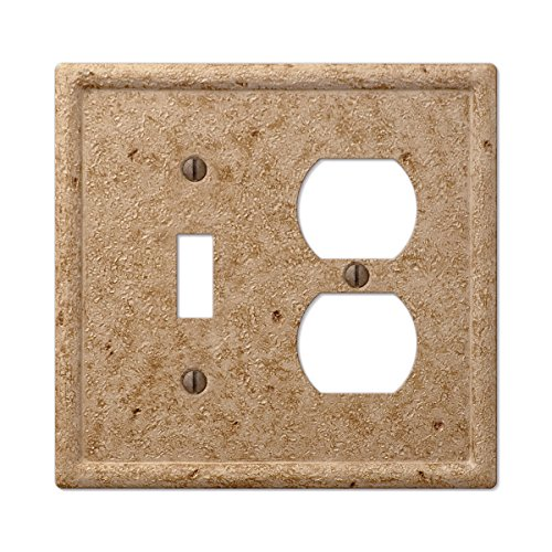 Travertine Switchplates - Tumbled Faux Stone Noce Toggle Duplex Combo Wall Plate, Noce Resin