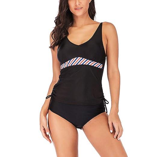 816faa2ab6b Lavany Womens Swimsuit Plus Size High Waist Two Piece Bathing Suits Sports  Swimwear Black