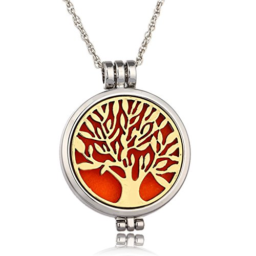 Life Tree Essential Oil Diffuser Necklaces Kids Jewelry Light Necklace Mens Chain Girls Green