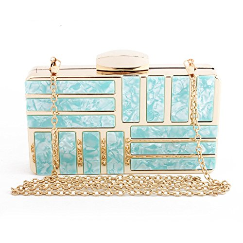 Bags Banquet Ms Handmade Acrylic Clutch Evening Dress Evening Bag XIAOLONGY New Party Dress blue Marble PwnYqv