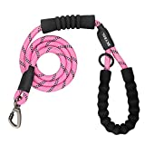 SKYEOL Heavy Duty Dog Leash-5 FT Strong Dog Leash with Comfortable Padded Handle, 360° Swivel Clip and Highly Reflective Threads for Night Safety,Thick Durable Nylon Rope for Medium Large Dogs (Pink)