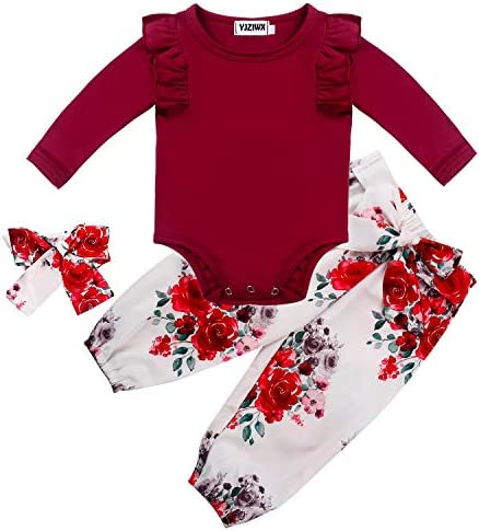 Newborn Baby Girl Clothes Ruffle Long Sleeve Bodysuit Floral PantsHeadband 3Pcs Infant Girl Outfits Set 0-2T