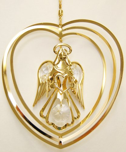 (24K Gold Plated Hanging Sun Catcher or Ornament..... Guardian Angel Holding a Heart in a Heart with Clear Swarovski Austrian Crystal)