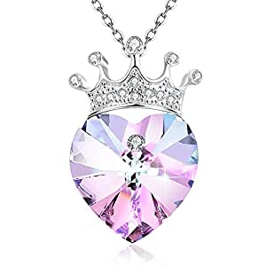 "Angelady"" You are My Queen"" Crown Purple Love Heart Pendant Necklace for Girlfriend Love Wife,Crystal from Swarovski"