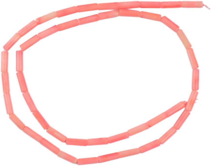 Non-brand Columna Rosada Tubo De Coral Espaciador Piedra Preciosa Perlas Sueltas Joyería Bricolaje Hacer 16