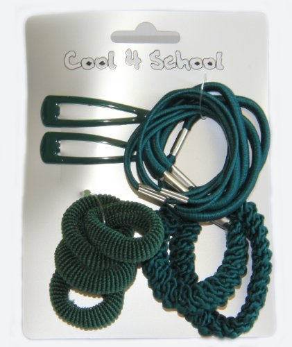 Bottle green assorted hair clips sleepies ponios elastics accessories in scho...