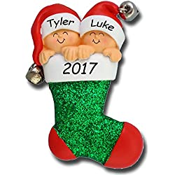 Personalized Twins in Stocking and Jingle Bell Santa Hats Baby's First Christmas Tree Ornament with Names and Year