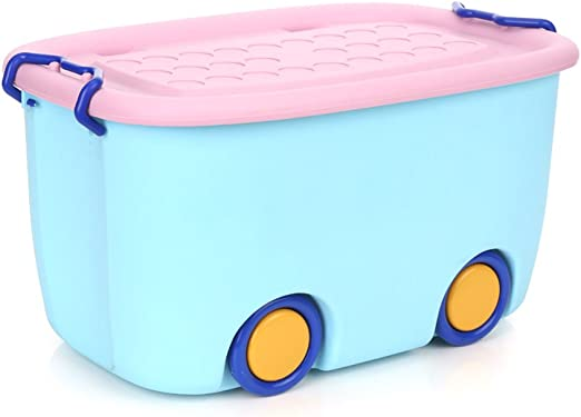 OUNONA - Caja de Almacenamiento apilable para Guardar cerraduras de plástico para niños Juguetes de bebé, Libros de Ropa (Azul): Amazon.es: Hogar